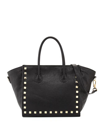 Jaden Studded Faux Leather Tote Bag, Black