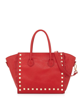 Jaden Studded Faux-Leather Tote Bag, Red