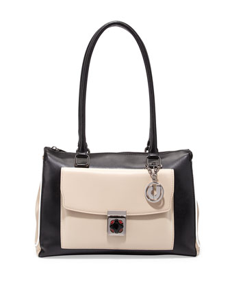 Kacey Bicolor Shoulder Bag, Black