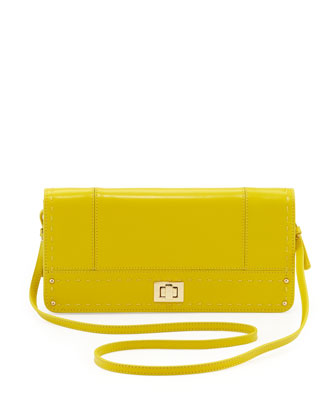 Kadie Pickstitch Crossbody Clutch Bag, Yellow