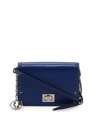 Kaila Stitched Leather Crossbody Bag, Indigo