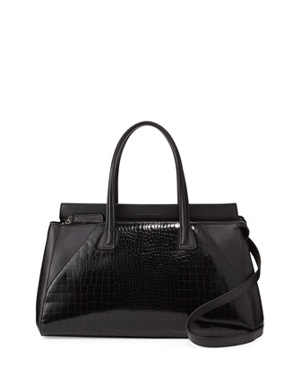 Kaimi Crocodile-Embossed Satchel Bag, Black