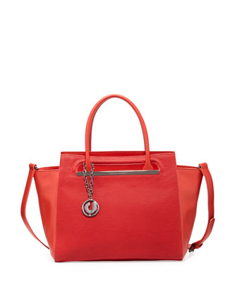 Karis Stamped Leather Tote Bag, Red