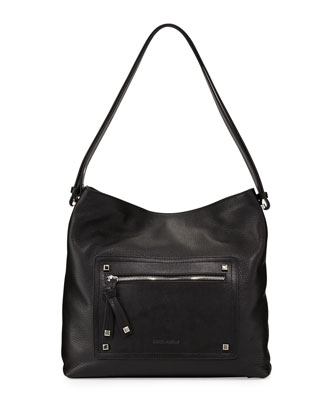 Kamen Slouchy Leather Shoulder Bag, Black