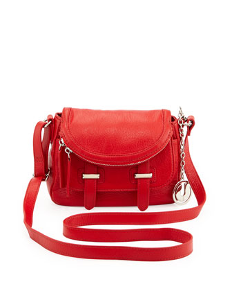 Kelsie Pebbled Crossbody Bag, Red