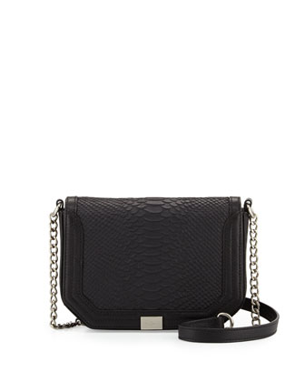Plated-Chain-Strap Flap-Top Crossbody Bag, Raven