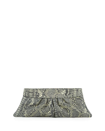 Louise Metallic Snake-Print Leather Clutch, Graphite