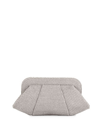 Tatum Raffia Snap-Top Clutch, Gray