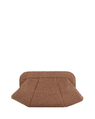 Tatum Raffia Snap-Top Clutch,Brown