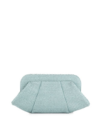 Tatum Raffia Snap-Top Clutch, Seafoam