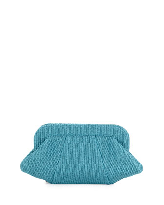 Tatum Raffia Snap-Top Clutch, Turq.