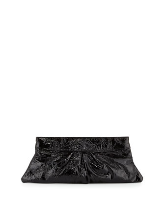 Eve Polished Lizard Leather Clutch, Black