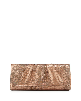 Caroline Croco-Embossed Leather Clutch, Copper