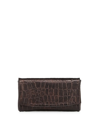 June Croco-Embossed Leather Clutch, Black