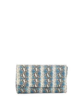 June Snake-Print Leather Clutch, Platinum
