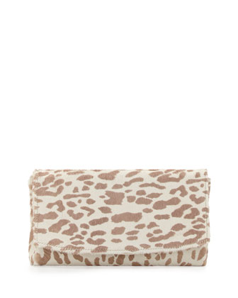 June Leopard Calf-Hair Clutch, Beige/White