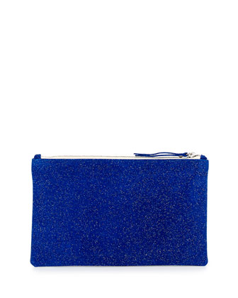 Medium Zip-Top Bead-Encrusted Clutch, Cobalt