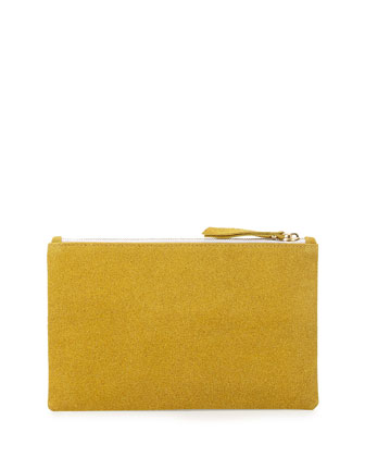 Medium Zip-Top Bead-Encrusted Clutch, Yellow