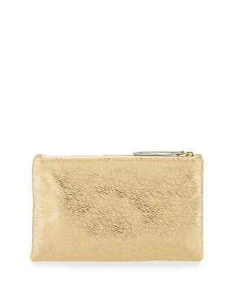 Medium Zip-Top Metallic Clutch, Pale Gold