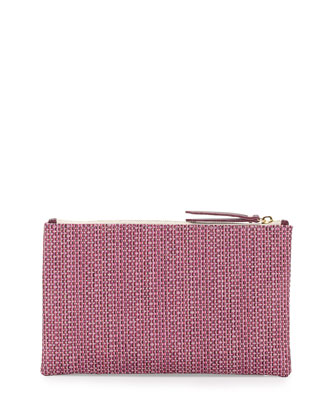 Medium Zip-Top Raffia Clutch, Pink