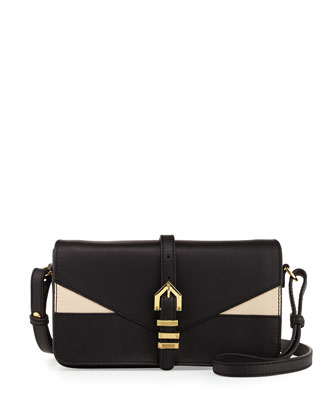 Hayden Colorblocked Leather Clutch Bag, Black/Nude