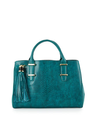 Snake-Print Double-Handle Tote Bag, Jade