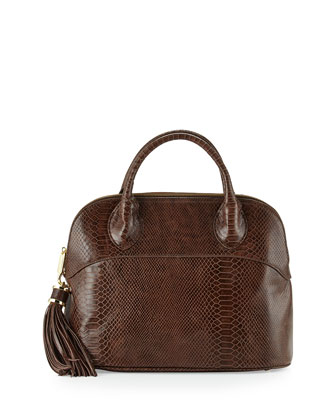 Snake-Print Dome Tote Bag, Smokey Topaz