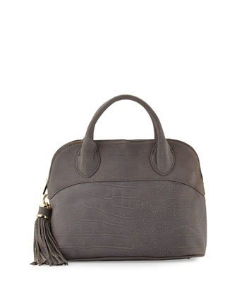 Crocodile-Embossed Dome Tote Bag, Pewter