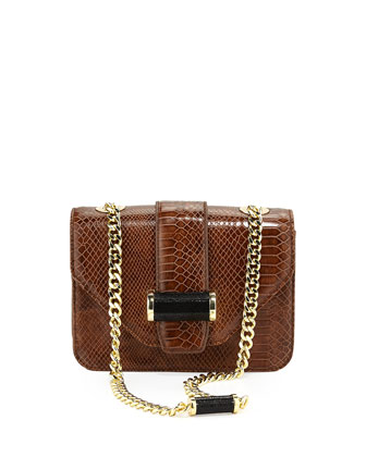 Small Snake-Print Bar Shoulder Bag, Tigers Eye