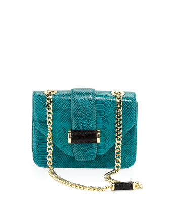 Small Snake-Print Bar Shoulder Bag, Jade