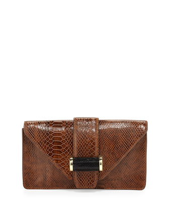 Snake-Print Bar Clutch Bag, Tigers Eye