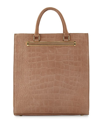 Croc-Embossed North-South Shopper Tote, Rose Quartz