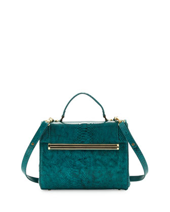 Kelly Snake-Print Satchel Bag, Jade