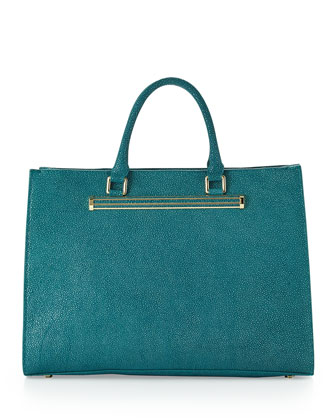 Stingray-Print East-West Shopper Tote, Jade