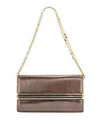 Small Metallic Snake-Print Shoulder Bag, Pewter