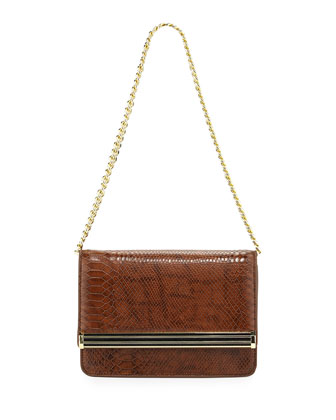 Snake-Print Chain Shoulder Bag, Tigers Eye