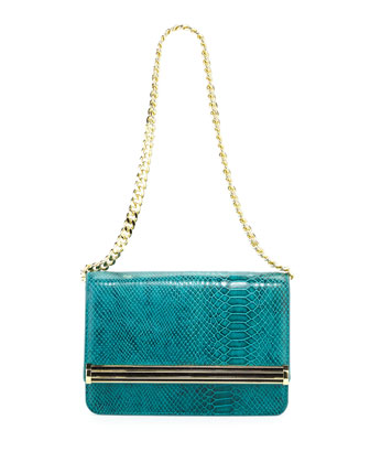 Snake-Print Chain Shoulder Bag, Jade
