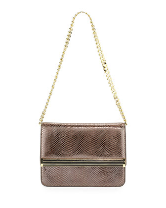 Metallic Snake-Print Chain Shoulder Bag, Pewter