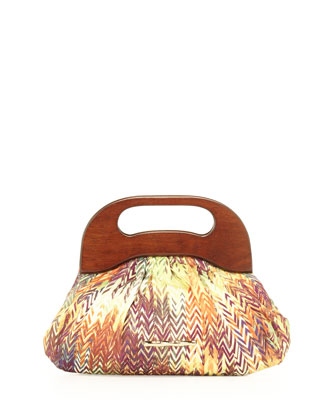Addie Thatch-Print Canvas Bag, Multicolor