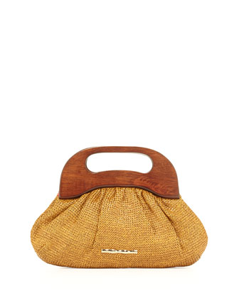 Addie Wooden-Handle Bag, Tobacco