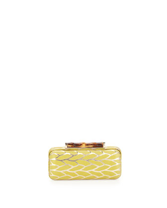 Angelina Metallic Leaf Hard-Shell Clutch Bag, Citrine