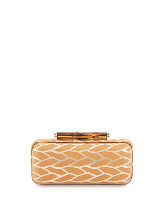 Angelina Metallic Leaf Hard-Shell Clutch Bag, Natural Gold