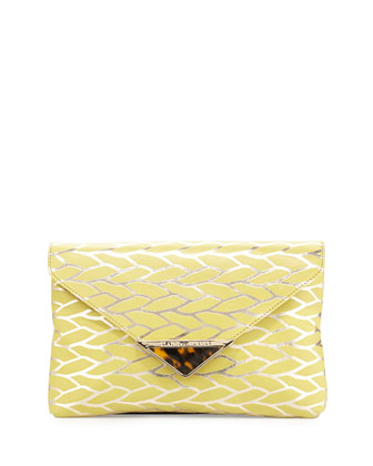 Bella Leaf Envelope Clutch Bag, Citrine/Gold