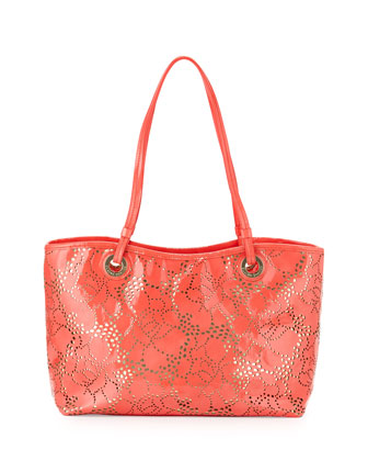 Candice Patent Laser-Cut Shoulder Bag, Coral