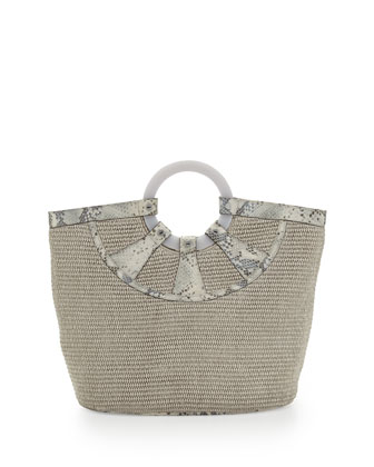 Hannah Woven Raffia Python Print Tote Bag, Silver Python