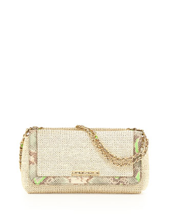 Laura Raffia Python-Embossed-Trim Convertible Bag, Ecru/Mint