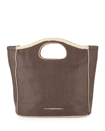 Madison Woven Beachgrass Tote Bag, Coffee