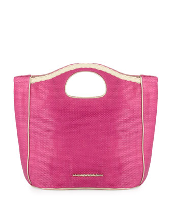 Madison Woven Beachgrass Tote Bag, Flamingo