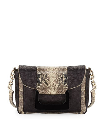 Olivia Snake Embossed Crochet Raffia Satchel Bag, Black