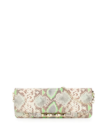 Simone Python-Embossed Shoulder Bag, Mint
